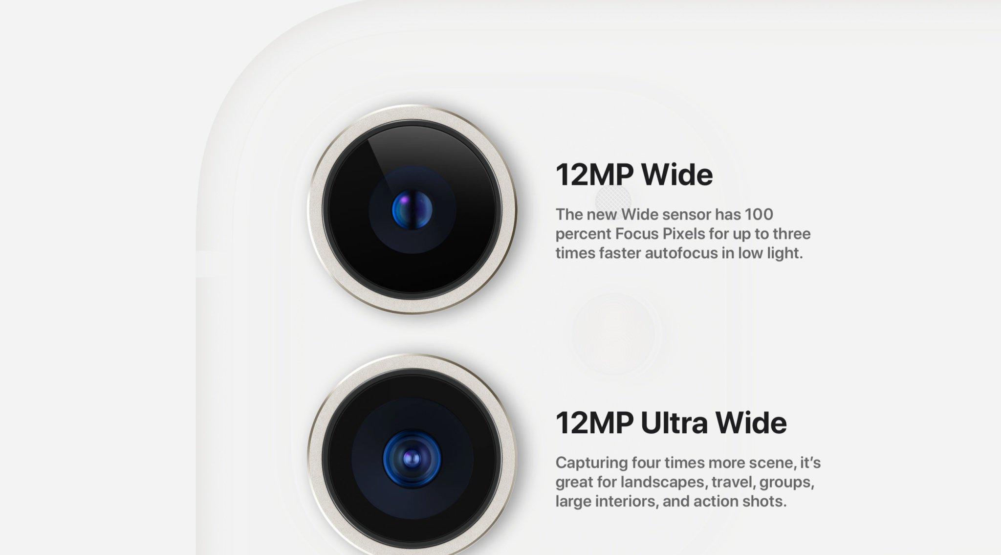 Camera của Apple iPhone 11 có độ phân giải 12MP