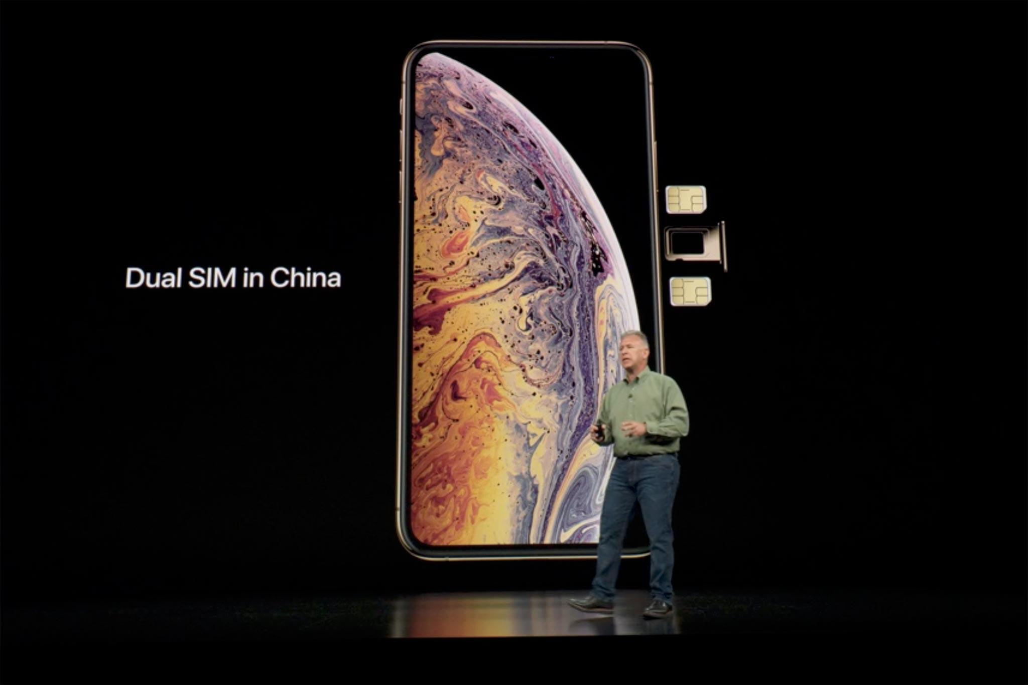 Hai thẻ SIM nano vật lý chỉ dành cho phiên bản bán ra tại thị trường Trung Quốc.