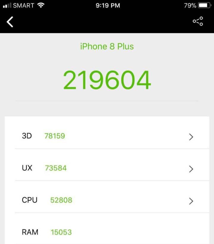 Điểm Antutu Benchmark trên iPhone 8 Plus