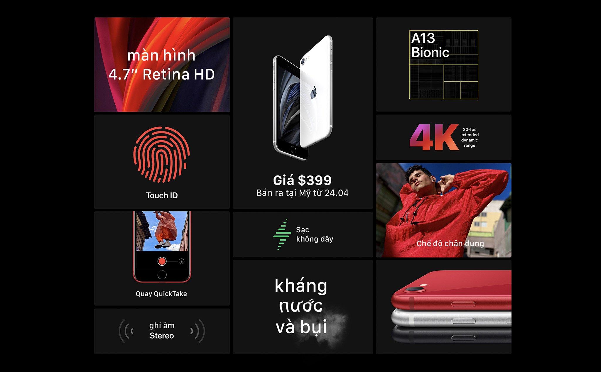 Các tính năng nổi bật có trong iPhone SE 2020